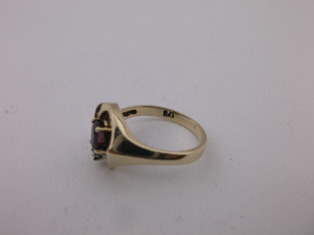 Stunning 10kt Gold Diamond Ruby Ring 5 - 2