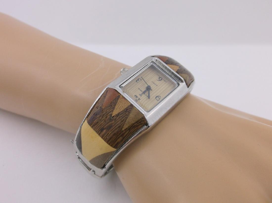 Gorgeous Wood Inlay Cuff Wristwatch Ottimo