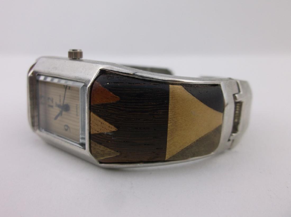Gorgeous Wood Inlay Cuff Wristwatch Ottimo - 2