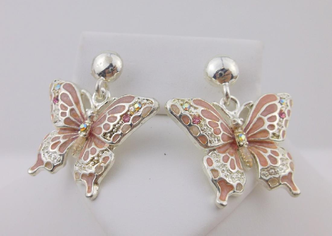 Stunning Enameled Rhinestone Butterfly Earrings Stud