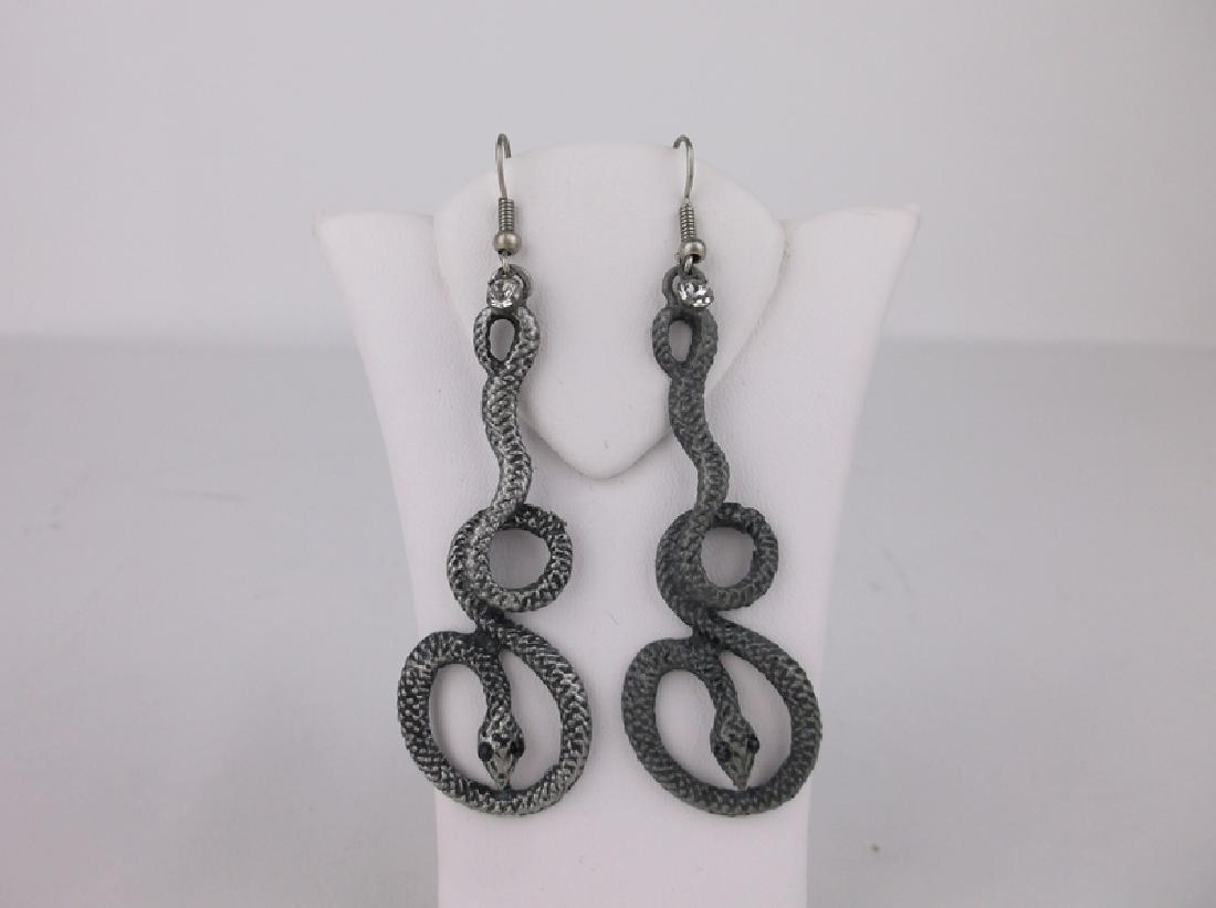 Stunning Long Snake Earrings Coiled