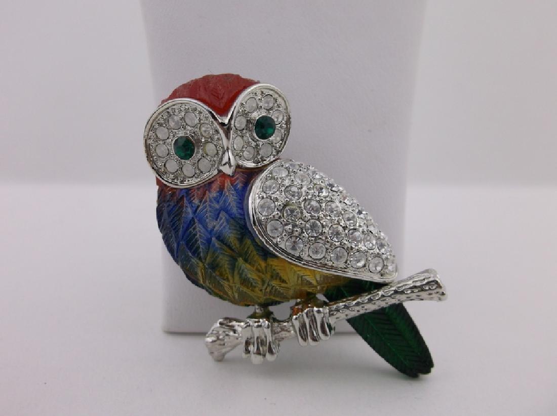 Incredible Rhinestone Owl Brooch - 2
