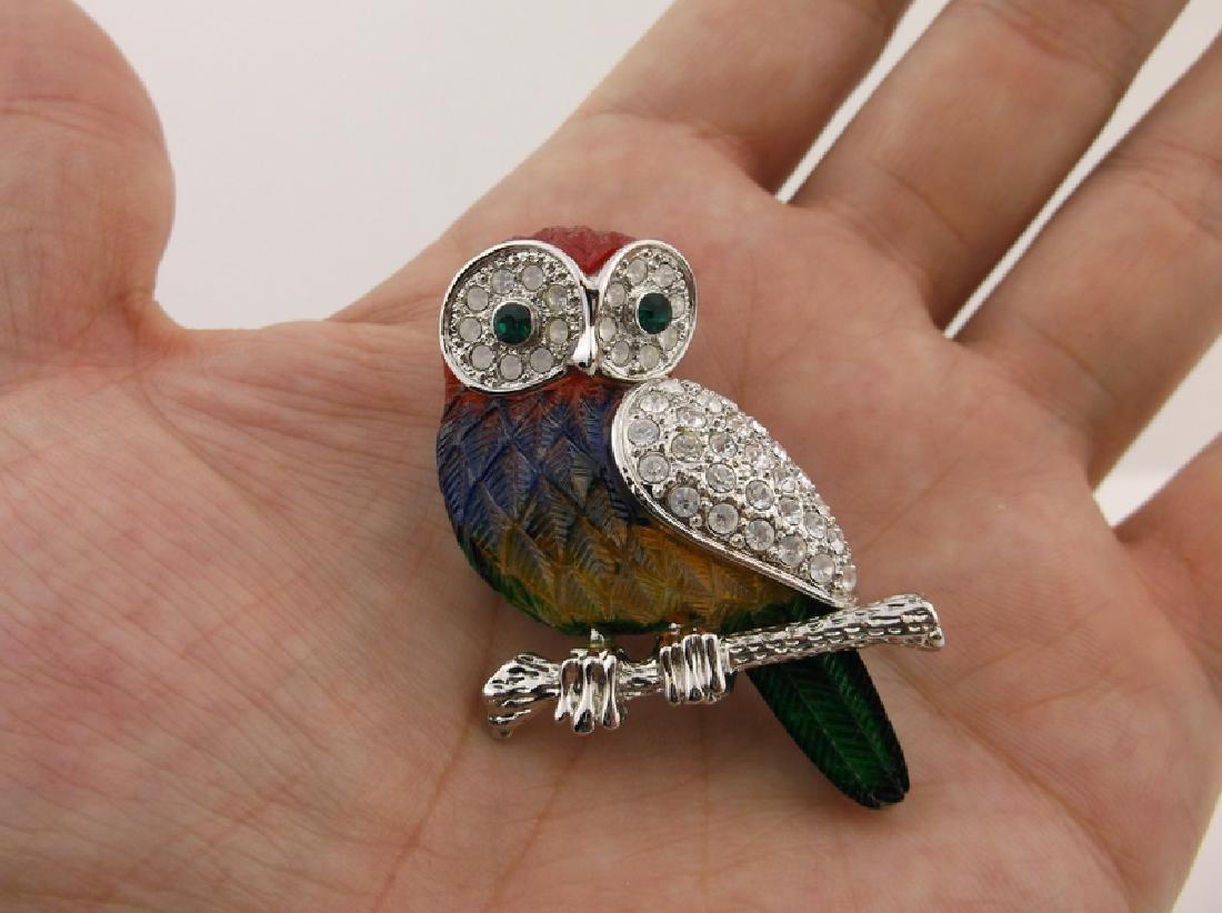Incredible Rhinestone Owl Brooch - 3