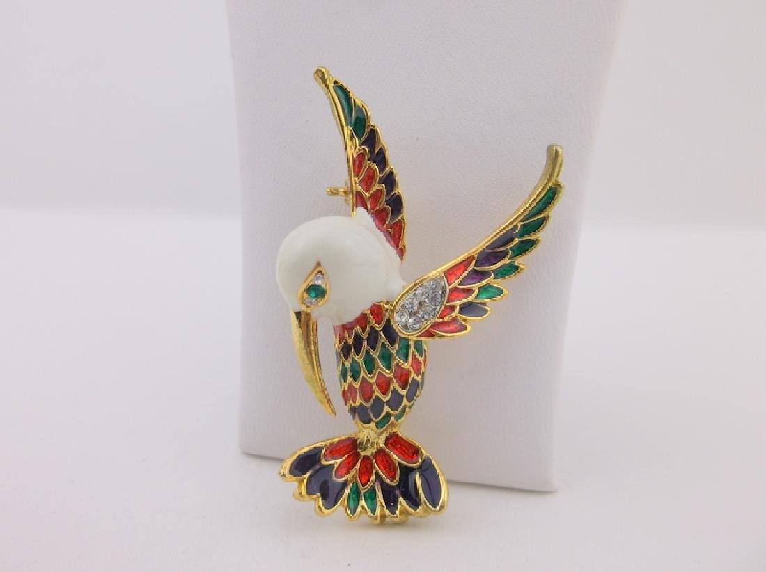 Stunning Enameled Rhinestone Bird Brooch