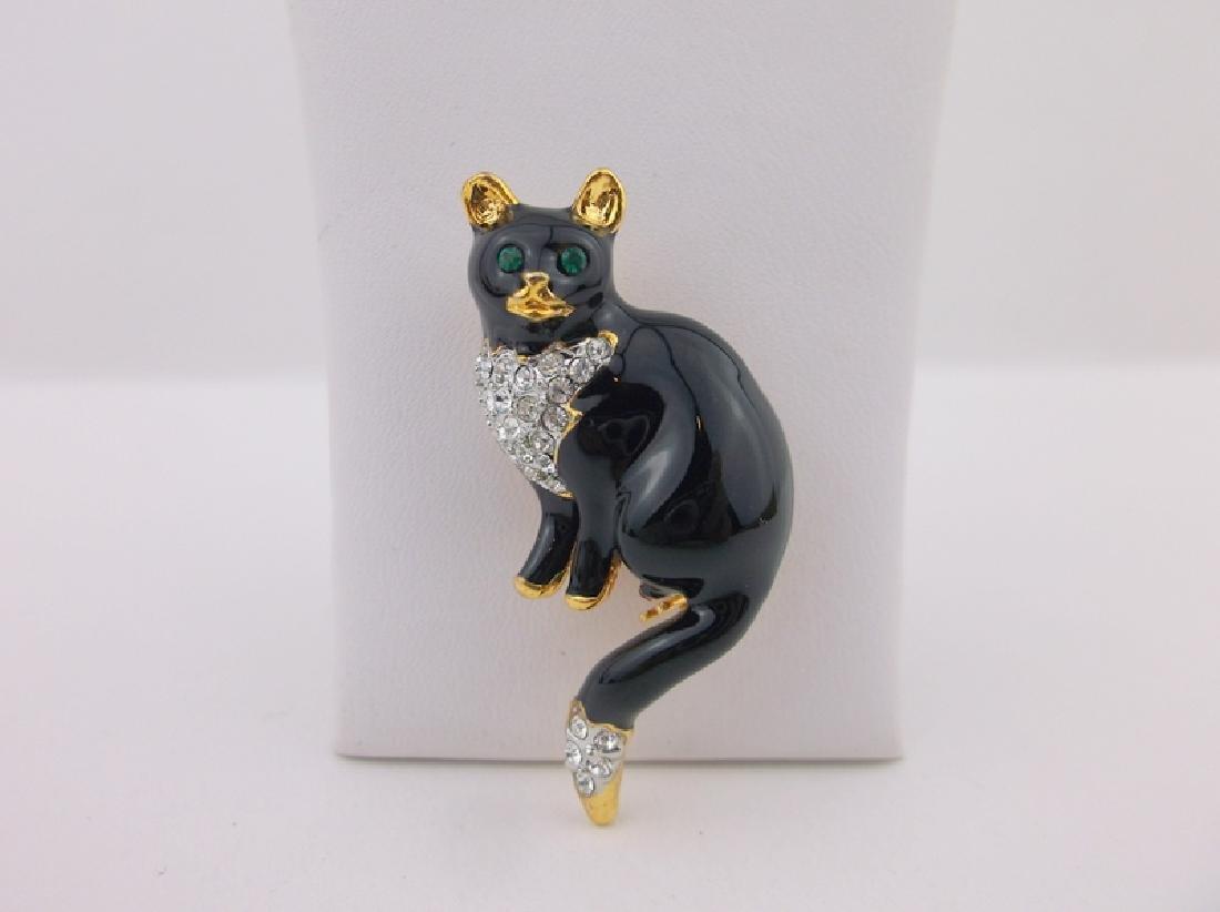 Stunning Enameled Rhinestone Kitty Cat Brooch