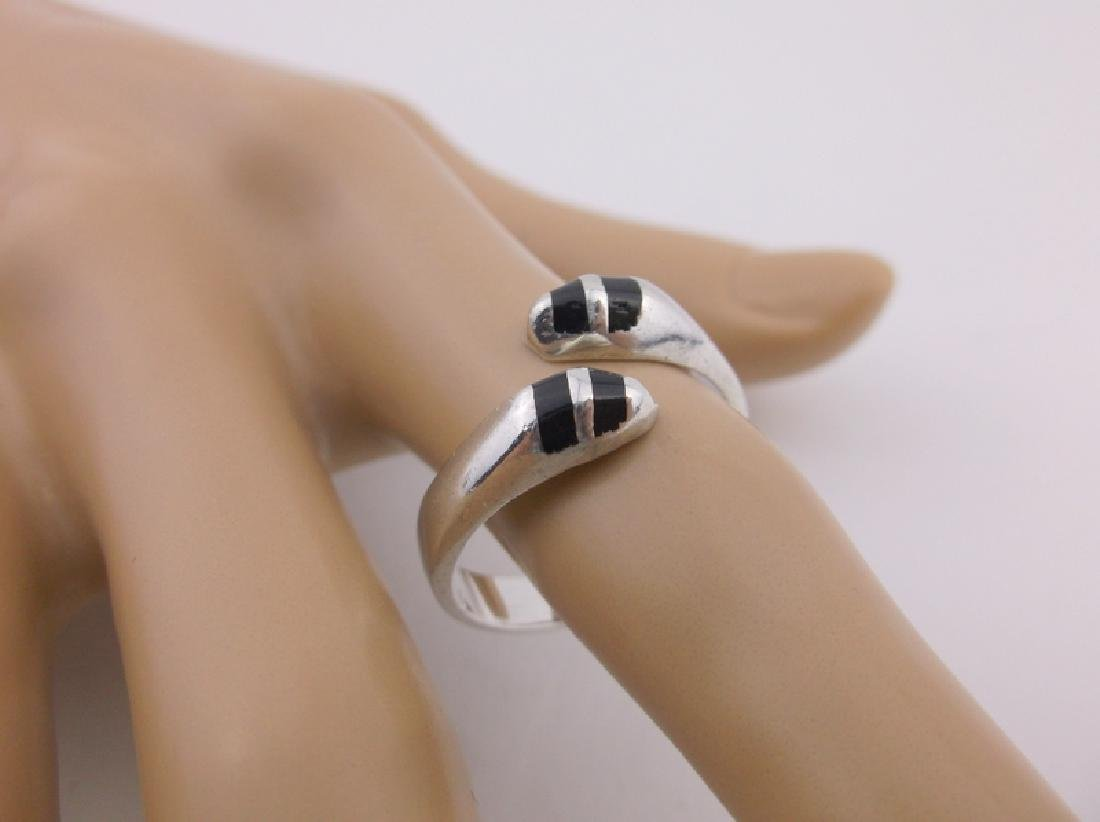 Gorgeous Sterling Silver Onyx Snake Wrap Ring 10