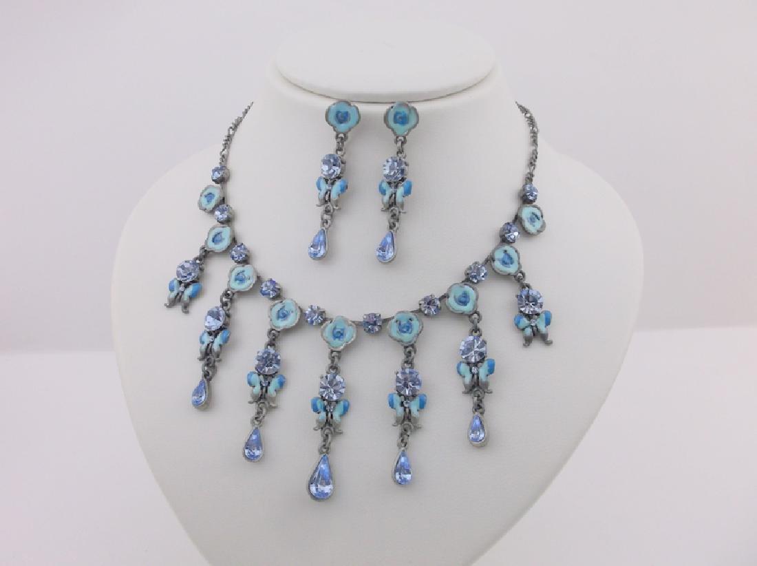 Enameled Rhinestone Butterfly Necklace Earrings
