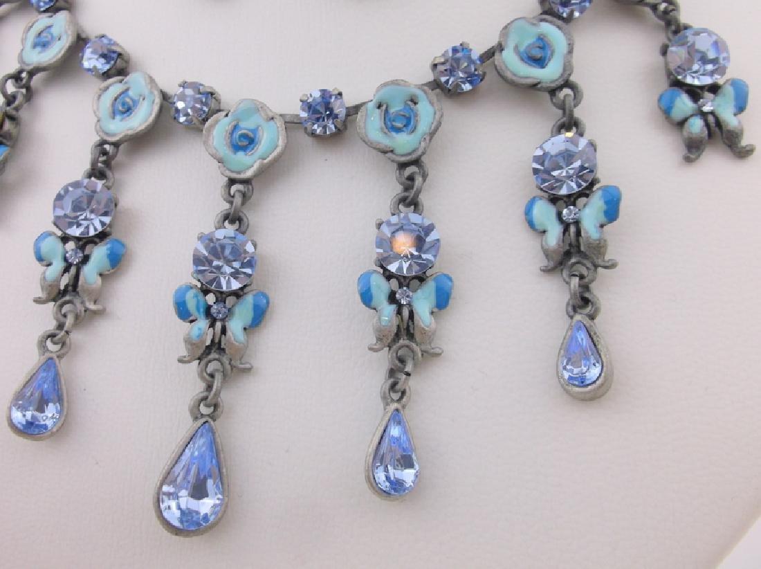 Enameled Rhinestone Butterfly Necklace Earrings - 2