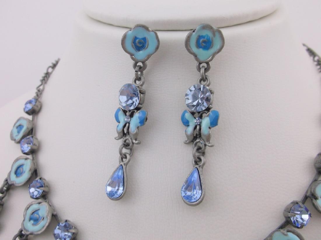 Enameled Rhinestone Butterfly Necklace Earrings - 3