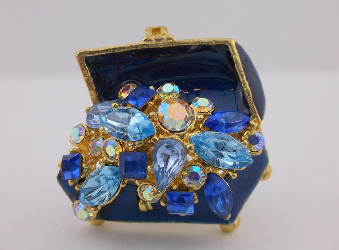 Stunn Enameled Rhinestone Treasure Chest Brooch