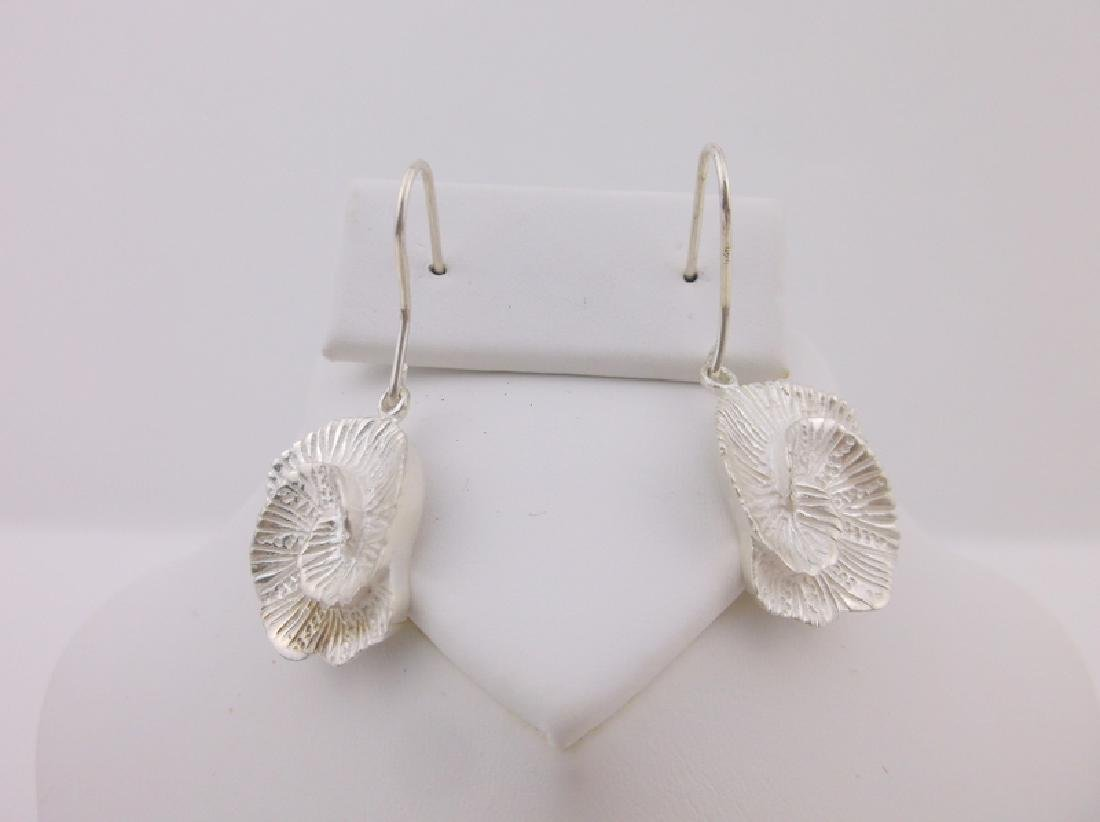 Stunning Sterling Silver Sea Coral Earrings