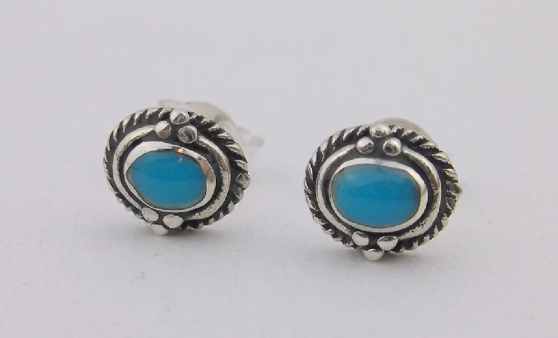 Stunning Sterling Silver Turquoise Stud Earrings