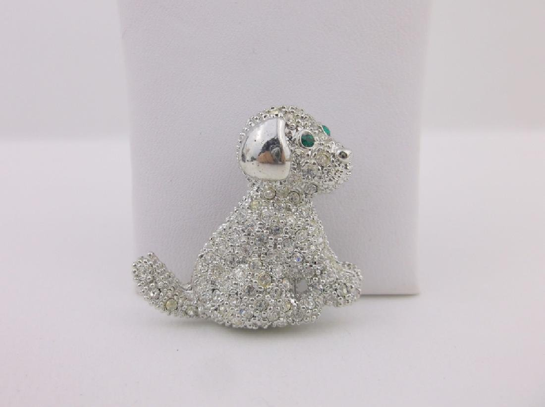 Stunning Rhinestone Puppy Dog Brooch