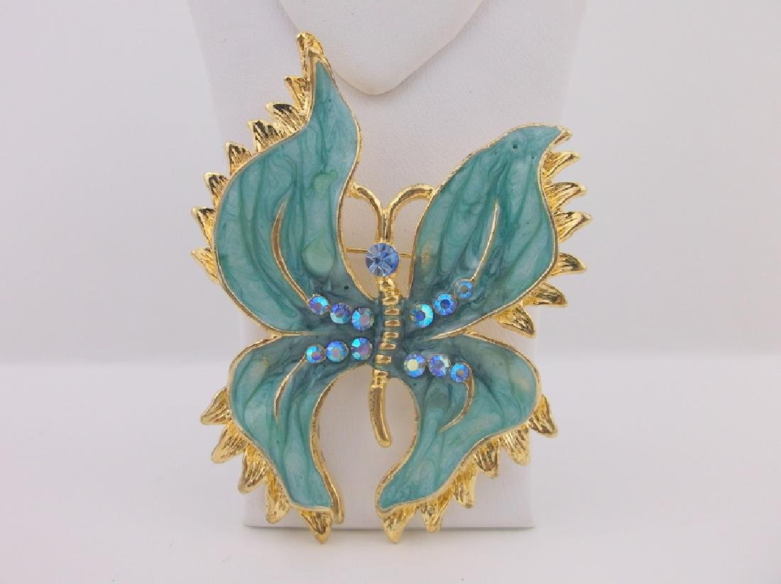 Stunning Enameled Rhinestone Butterfly Brooch Large