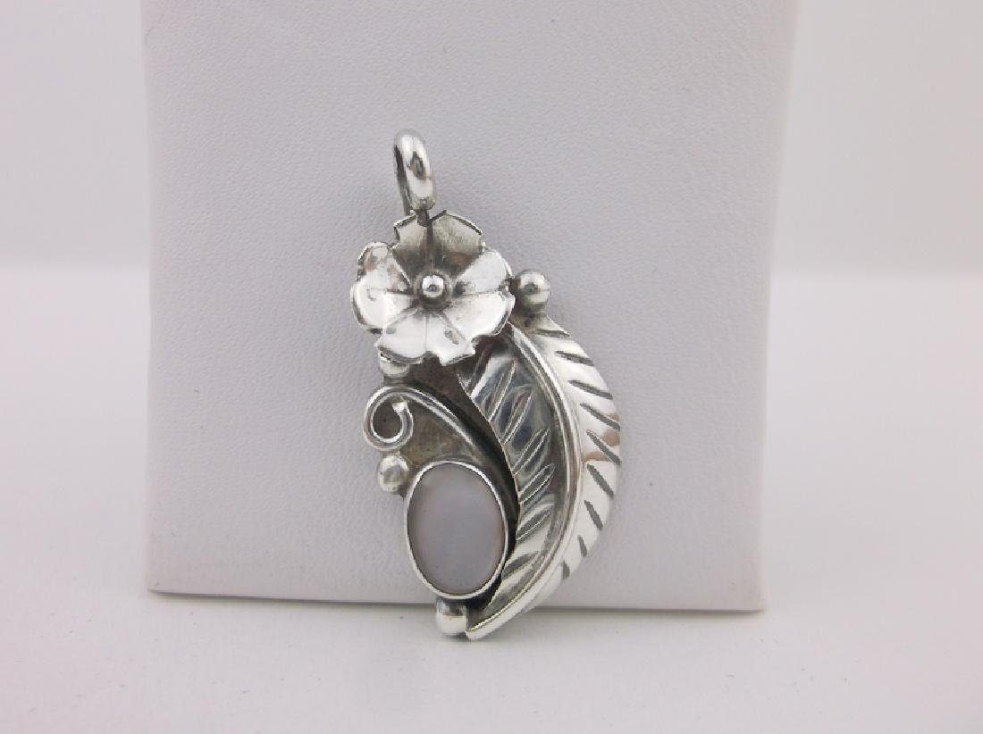 Stunning Navajo Sterling MOP Feather Pendant