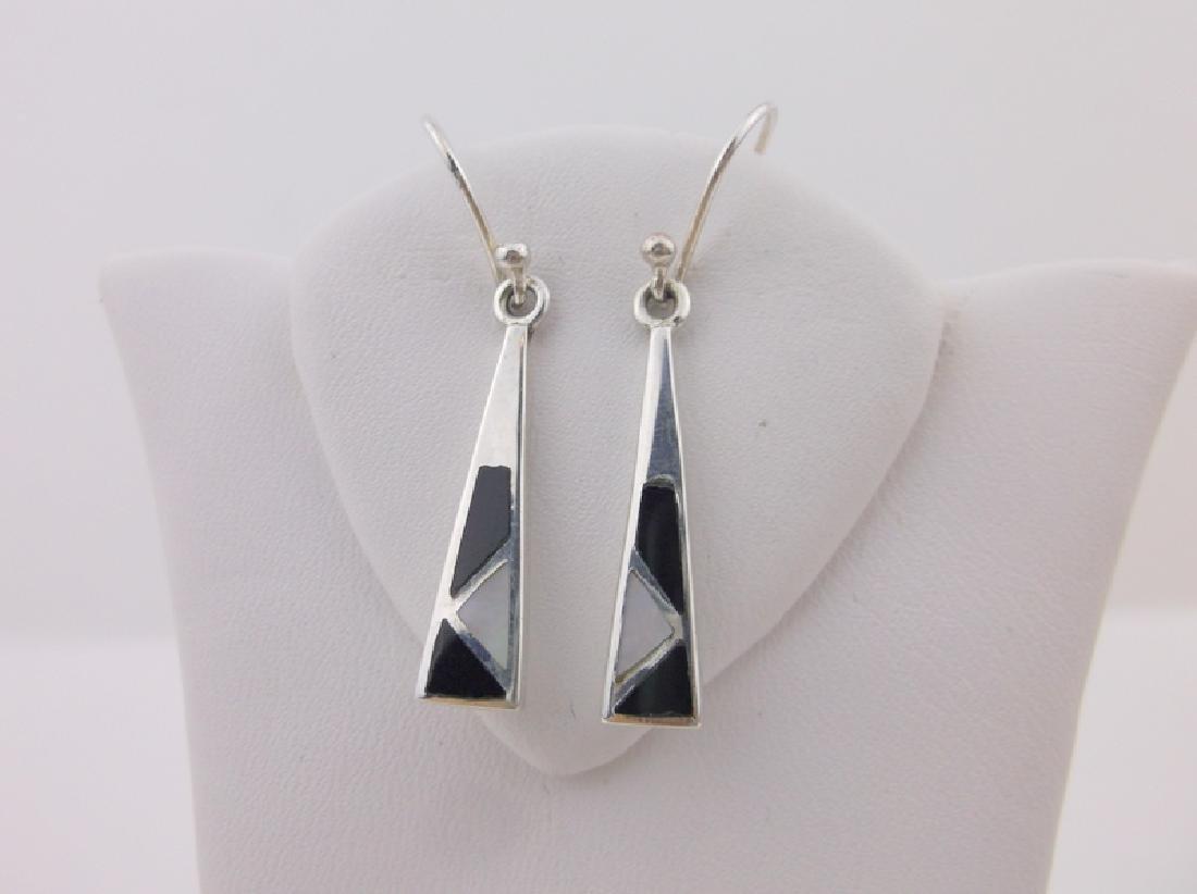 Stunning Sterling Silver Onyx MOP Drop Earrings
