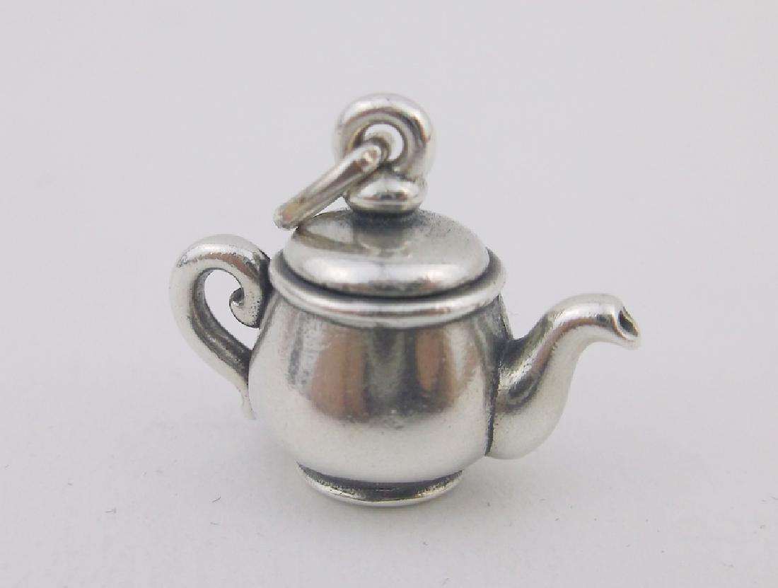 Vint James Avery Sterling Teapot Pendant Rare
