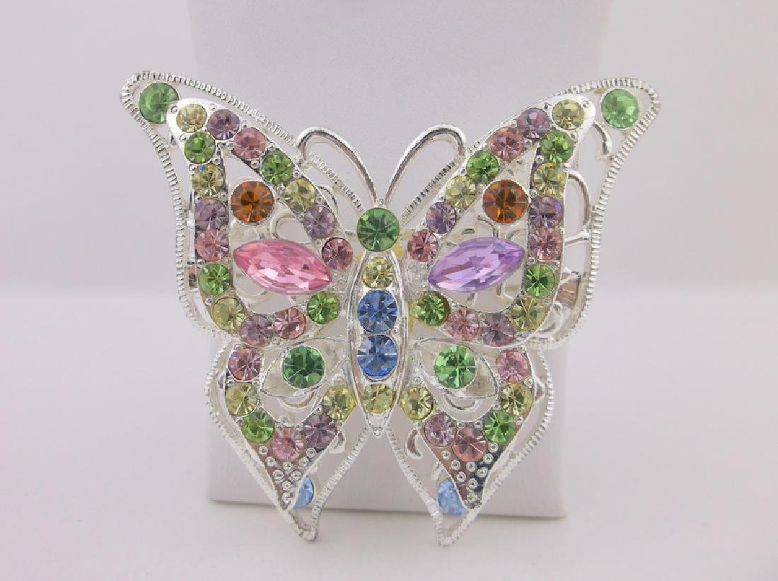 Stunning Rhinestone Butterfly Brooch Pendant Large