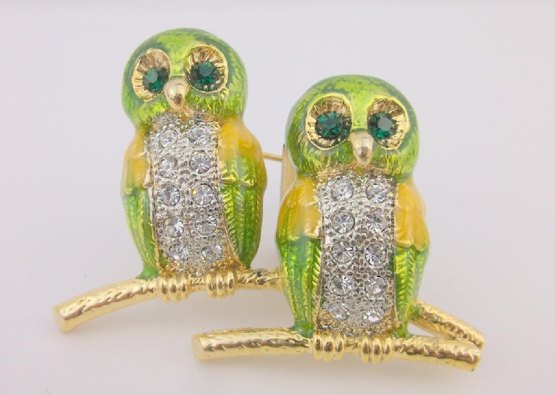 Incredible Enameled Rhinestone Owl Brooch