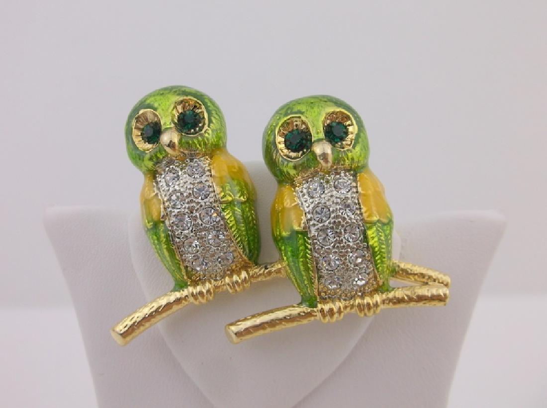 Incredible Enameled Rhinestone Owl Brooch - 2