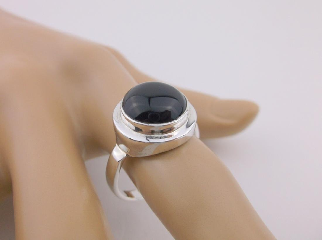 Stunning Sterling Silver Onyx Mens Ring 10
