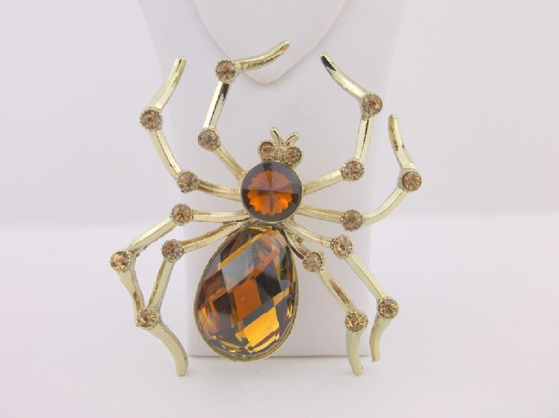 Stunning Huge Rhinestone Spider Brooch