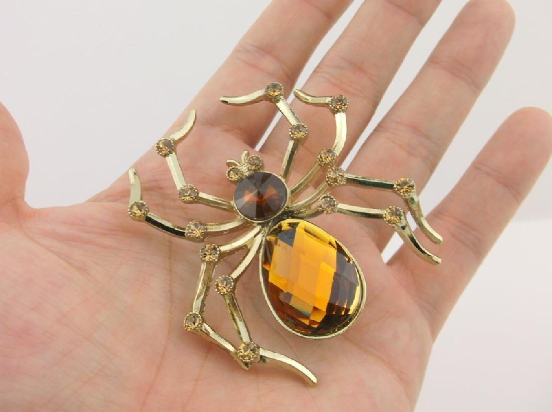 Stunning Huge Rhinestone Spider Brooch - 2