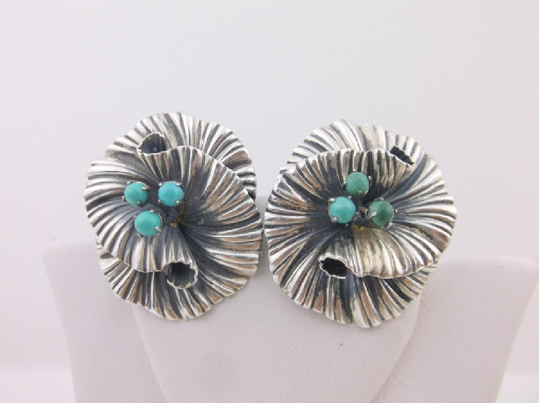 Stunning Antique Winard Sterling Turquoise Earrings