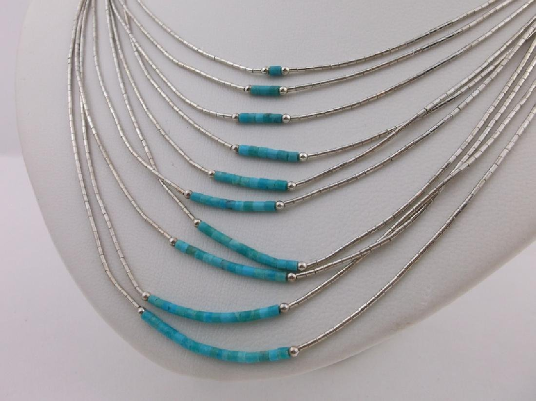 Incredible Navajo Sterling Turquoise 10 Strand Necklace - 2
