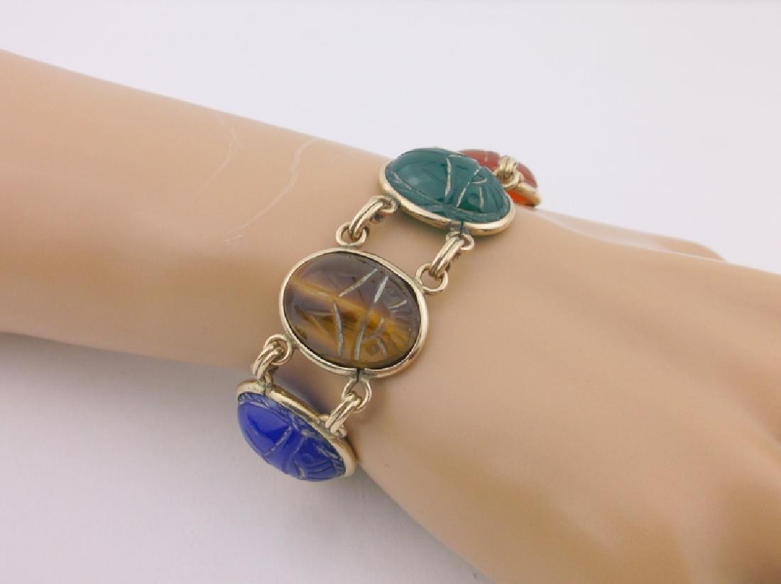Rare Harry S Bick 12kt GF Gem Scarab Bracelet
