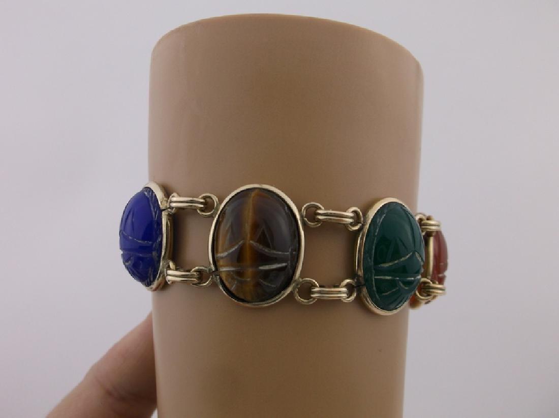 Rare Harry S Bick 12kt GF Gem Scarab Bracelet - 2