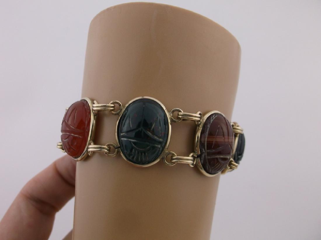 Rare Harry S Bick 12kt GF Gem Scarab Bracelet - 3