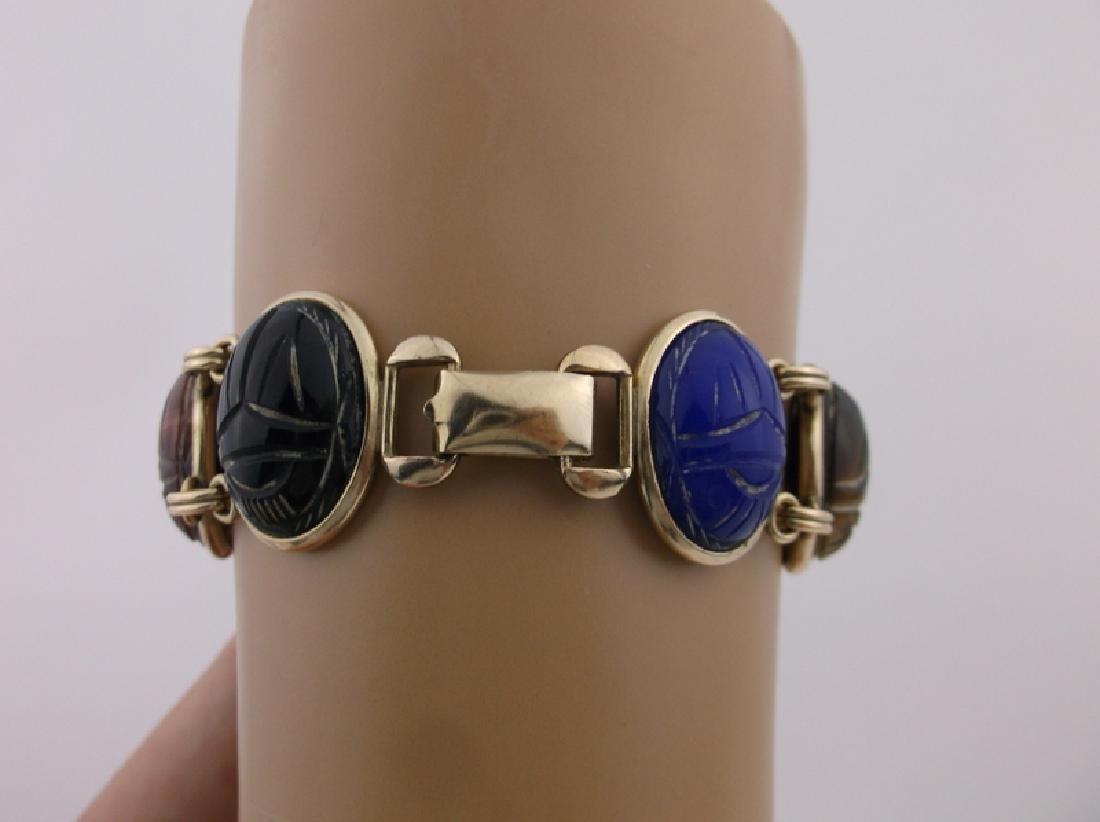 Rare Harry S Bick 12kt GF Gem Scarab Bracelet - 4