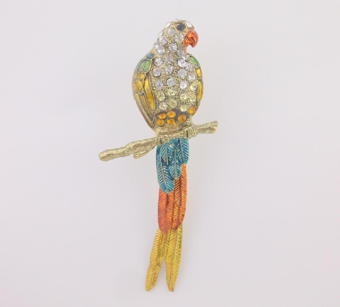 Inc Huge Enameled Rhinestone Parrot Brooch Pend