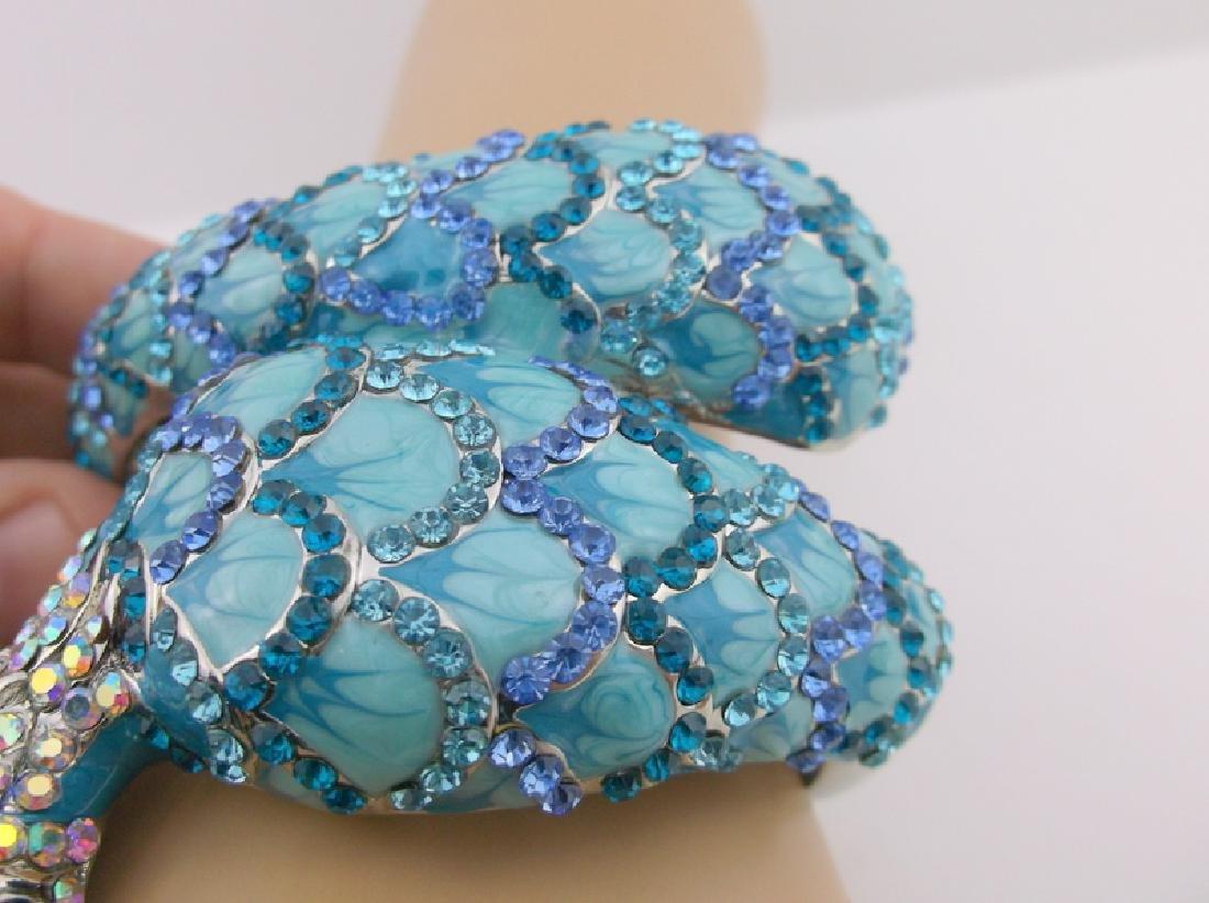 Inc Enameled Rhinestone Peacock Bracelet Huge - 3