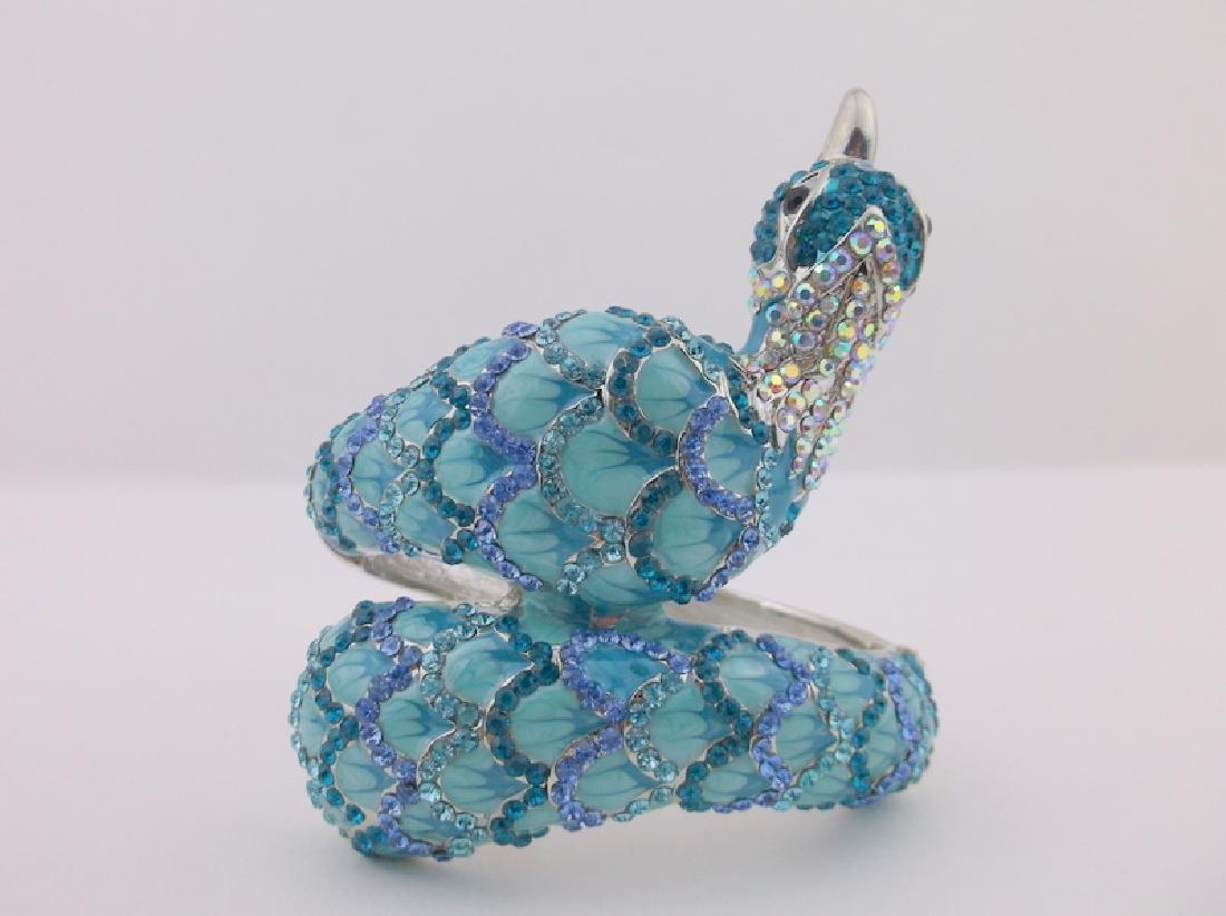 Inc Enameled Rhinestone Peacock Bracelet Huge - 5