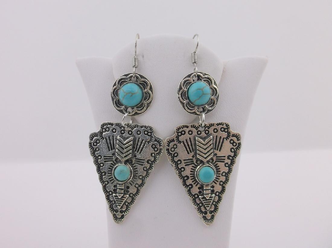 Stunning Southwestern Turquoise Arrowhead Earrings