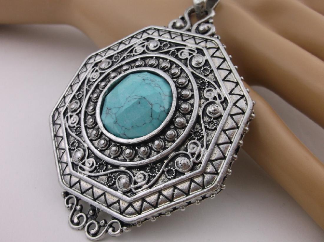 Stunning Large Southwestern Turquoise Pendant - 2