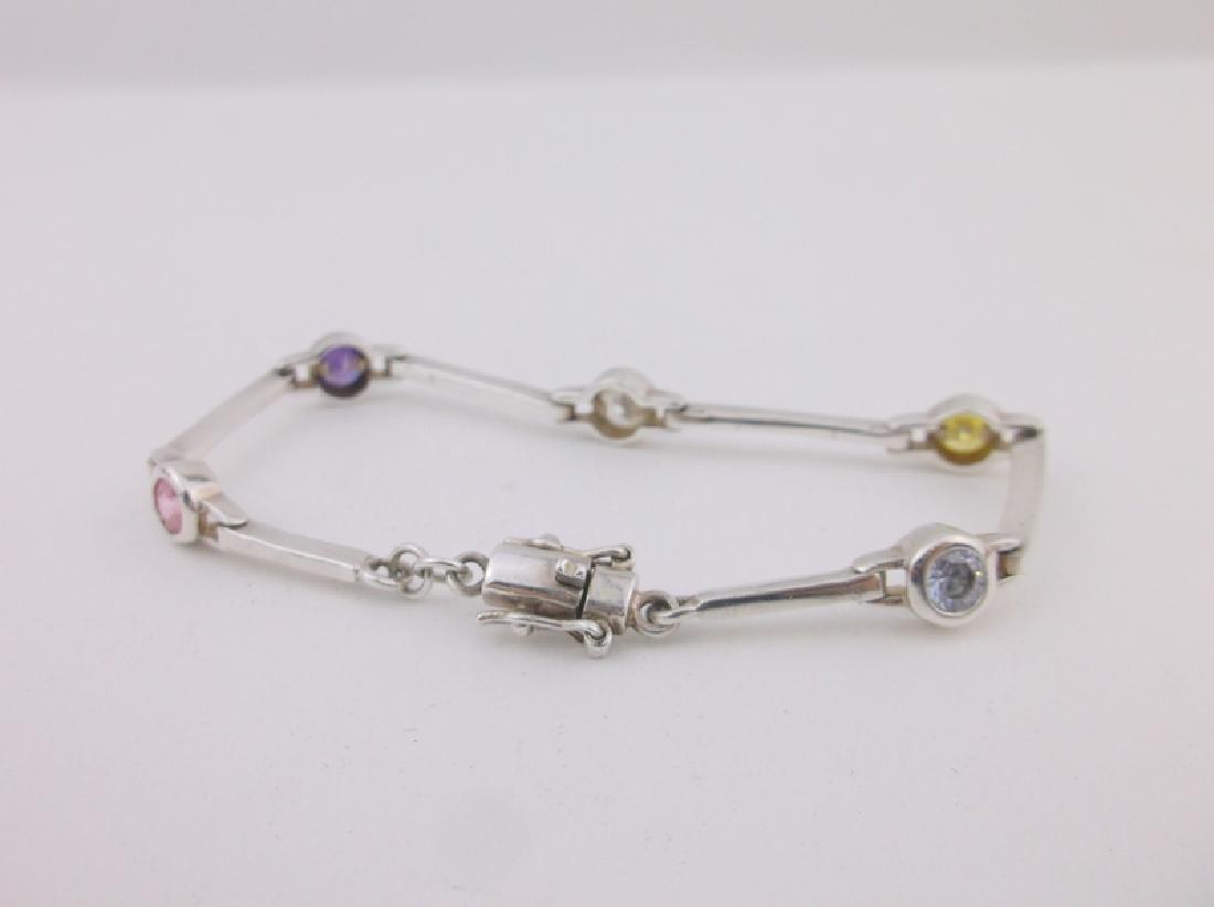 Stunning Sterling Silver Multi Gemstone Bracelet - 2