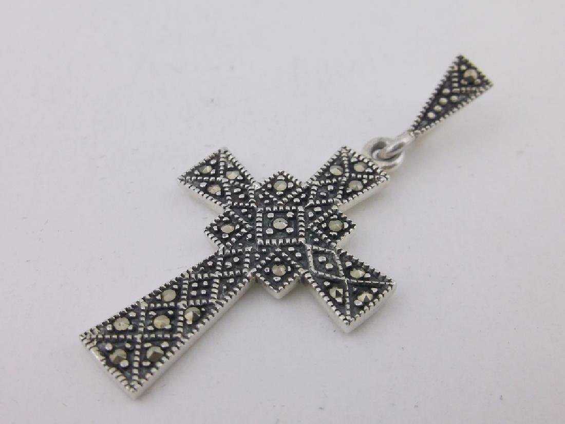 Stunning Sterling Silver Marcasite Cross Pendant