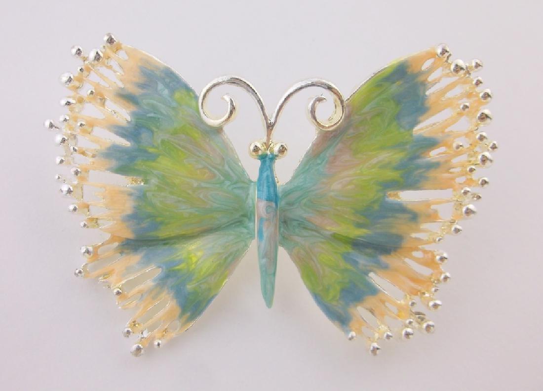 Stunning Enameled Butterfly Brooch Pendant