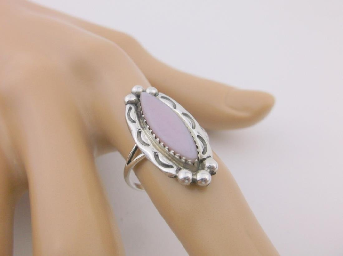Gorgeous Navajo Sterling Silver MOP Ring 8 OR