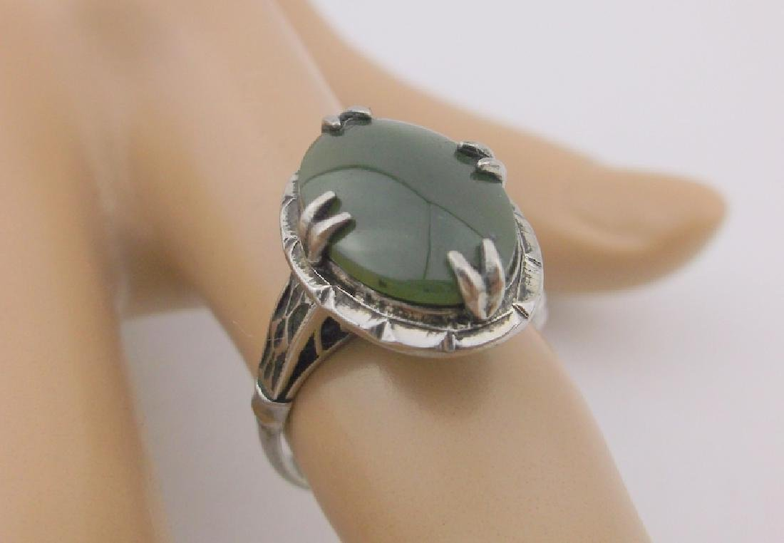 Stunning Antique Sterling Silver Jade Ring 6.5