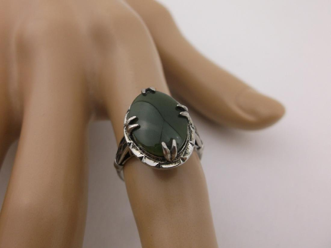 Stunning Antique Sterling Silver Jade Ring 6.5 - 2