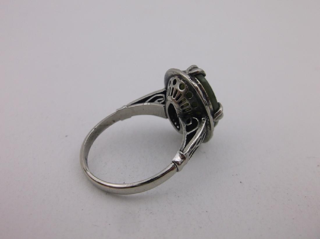 Stunning Antique Sterling Silver Jade Ring 6.5 - 3