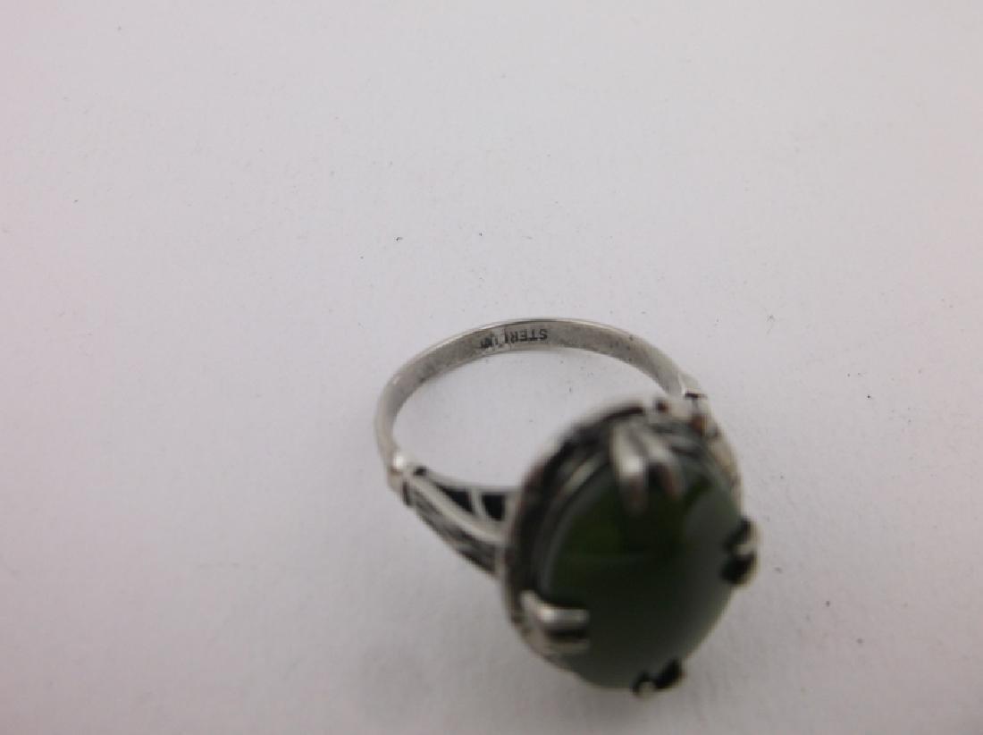 Stunning Antique Sterling Silver Jade Ring 6.5 - 4