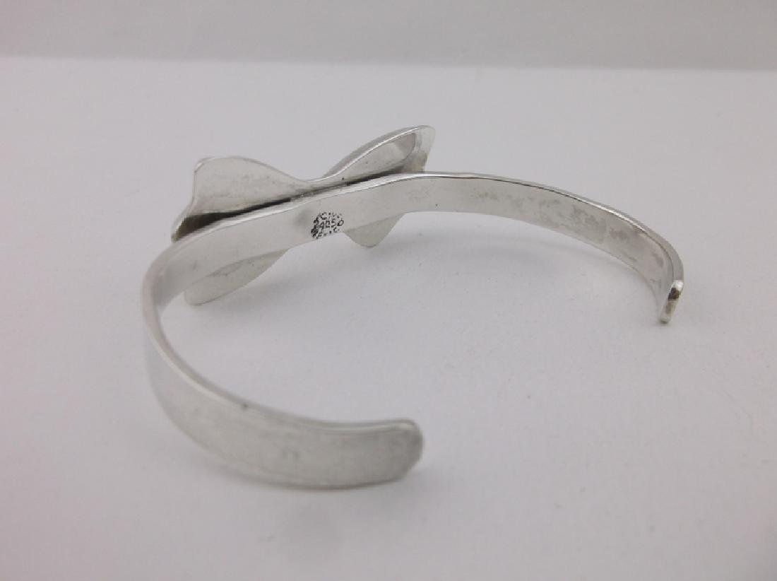 Very Heavy Sterling Thick Bow Cuff Bracelet Stunning - 3