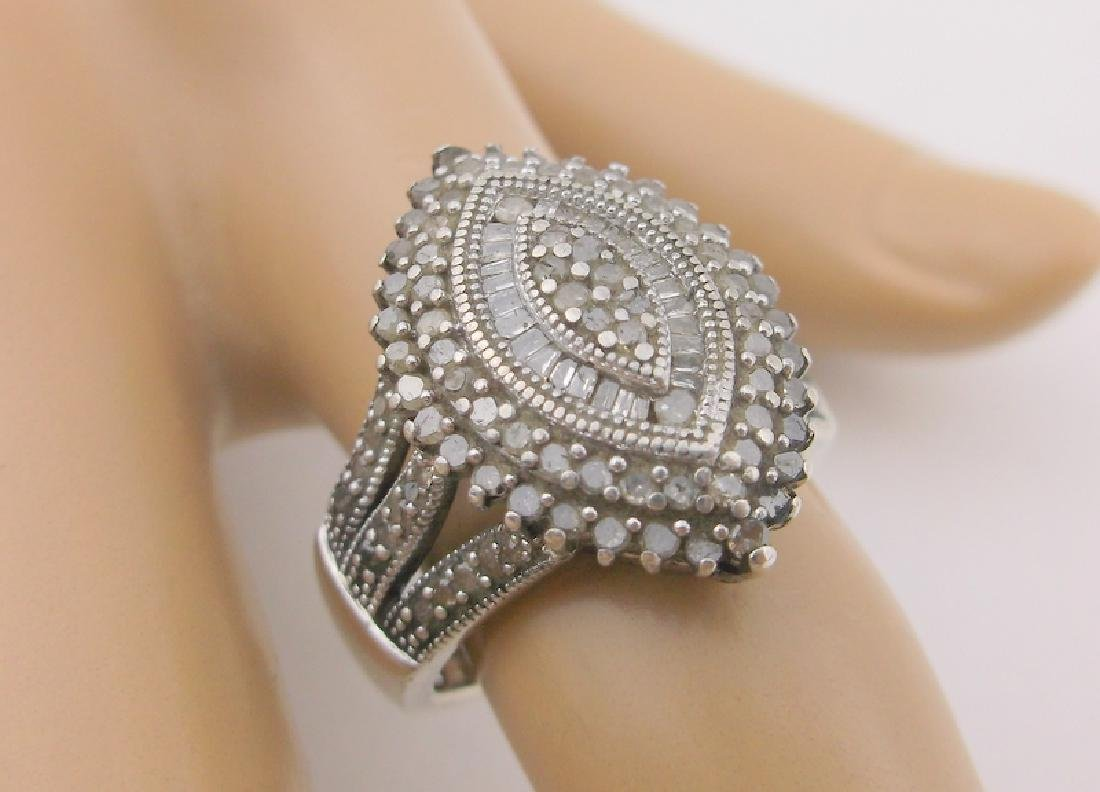 Stunning Sterling Silver 127 Genuine Diamond Ring 7