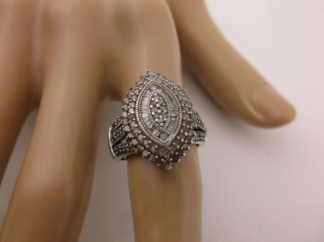 Stunning Sterling Silver 127 Genuine Diamond Ring 7 - 2