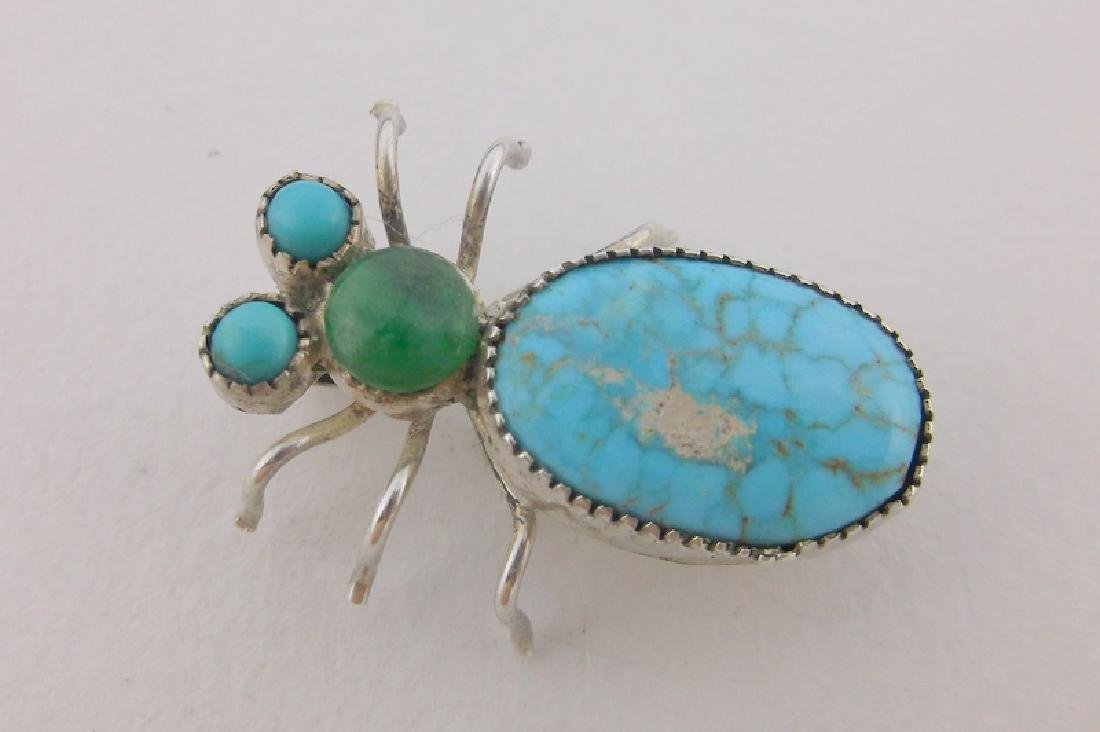 Rare Antique Navajo Sterling Turquoise Insect Brooch